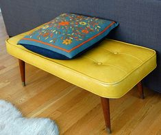 Yellow Mid Century Bench + Hand Embroidered Pillow
