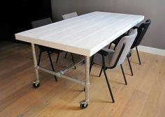 Eettafel 'Industrial' | Wit steigerhout | Te koop bij w00tdesign | Flickr - Photo Sharing!