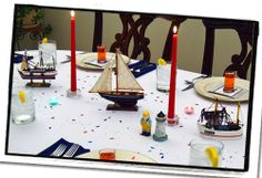 Blue and Gold Dinner Theme | formal setting with the crisp, clean look of a nautical dinner ...