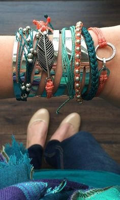 Teal & Coral Accessories - Boho Chic