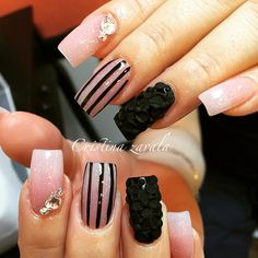 Pink nude black stripes 3d art nail design bling