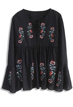 Snazzy Blossom Embroidered Dolly Top in Black- New Arrivals - Retro, Indie and Unique Fashion