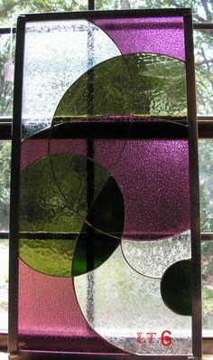 LT Stained glass Panel window hanging olive by UniqueStainedGlass