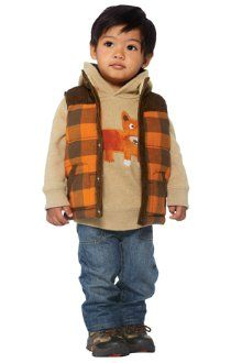 View Larger  Little Mister Fox  Pair our fox hoodie with classic jeans and sturdy footwear to get your guy adventure-ready. Plaid flannel vest makes a cozy and stylish finishing layer.