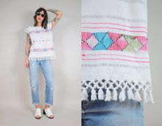 Etsy の 70's Woven Embroidered Fringe Top by NOIROHIOVINTAGE
