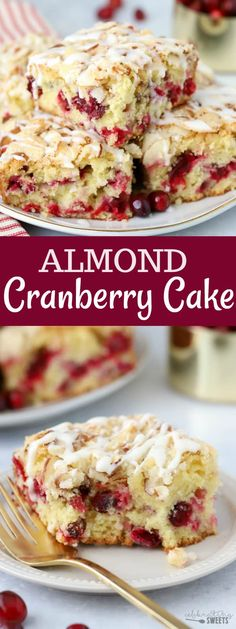 Almond Cranberry Cake - Celebrating Sweets Almond Cranberry Cake - A soft and fluffy almond flavored cake filled with fresh cranberries and topped with a buttery almond streusel. A delicious and comforting breakfast or dessert for the holiday season. Holiday Cakes, Holiday Desserts, Holiday Baking, Christmas Baking, Just Desserts, Holiday Recipes, Christmas Meals, Christmas Cakes, Fresh Cranberry Recipes