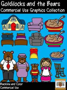 Goldilocks and the Three Bears Clipart Collection