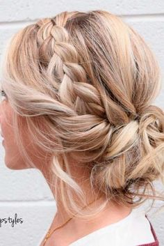 30 Posh Medium Length Hair Styles and Cuts Bridesmaid Hair Updo Cuts Hair length medium Posh styles Medium Hair Styles, Curly Hair Styles, Hair Twist Styles, Braid Styles, Wedding Hair And Makeup, Braided Wedding Hair, Wedding Hairstyles With Braid, Upstyle Wedding Hair, Hair Updos For Weddings Guest