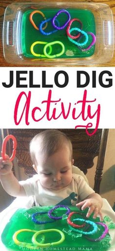 Jello Dig Activity For Babies and Toddlers | Modern Homestead Mama The perfect jello sensory activity for kids of all ages :) #toddlers #baby #activitiesforbabies #toddlersensory
