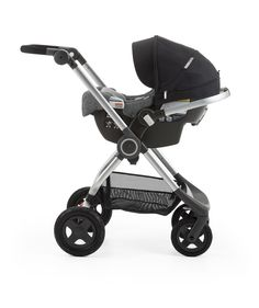 Stokke® PIPA™ By Nuna® car seat Black. Mounted on Stokke® Scoot™. (USA only).