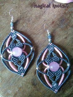 Macrame earrings with rose quartz stones