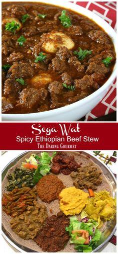 Sega Wat (Spicy Ethiopian Beef Stew) - The Daring Gourmet Slow Cooker Recipes, Beef Recipes, Cooking Recipes, Healthy Recipes, Crockpot Meals, Recipies, Ethiopian Cuisine, Ethiopian Food Recipes, Gourmet