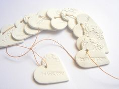 10 Ceramic Gift Tag Thank you Tags, Wedding Favor Tags, Decoration Love tags, Wedding Ceramic Tag Wedding Thank You Gifts, Thank You Tags, Wedding Favor Tags, Gold Wedding Theme, Wedding Ideas, Wedding Stuff, Love Tag, Clay Ornaments, White Clay