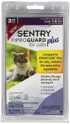 SENTRY Fiproguard Plus for Cats, Squeeze-On * Click on the image for additional details. (This is an Amazon affiliate link)