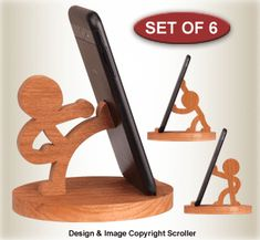 Other Scroll Saw Designs Character Cell Phone Holders Pattern Set - Iphone Holder - Ideas of Iphone Holder - Other Scroll Saw Designs Character Cell Phone Holders Pattern Set Wood Phone Holder, Iphone Holder, Iphone Stand, Cell Phone Holder, Iphone Phone, Wooden Art, Wooden Toys, Wood Projects, Woodworking Projects