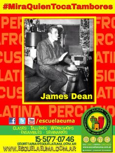 BUENOS DIAS! Hoy es martes de #MiraQuienTocaTambores/ Compartiremos fotografías de famosos tocando percusión! Si tenés alguna, compartila con nosotros! hoy, James Dean