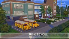 The Sims 4 - Request: High School Lotes The Sims 4, Sims Four, Sims Cc, Maxis, Sims 4 City Living, Casas The Sims 4, Sims Building, Sims 4 Dresses, Sims 4 Build