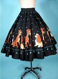 1950's Disney's LADY & the TRAMP Black Cotton Print Circle Skirt - my gosh--oh my fav lady and the tramp!