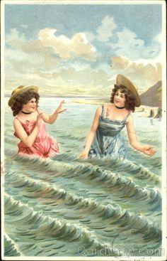 Divided Back Postcard Bathing Beauties Swimsuits & Pinup Images Vintage, Vintage Artwork, Vintage Pictures, Vintage Prints, Victorian Paintings, Beach Scenes, Bathing Beauties, Up Girl, Beach Photos