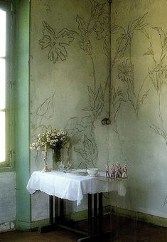 Wall decorations by French artist and poet LP Promenheur. World of Interiors magazine. Must do it in my little bedroom corner.