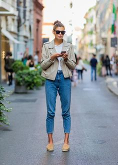 Street style jeans and leather jacket