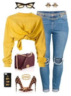 """""""Go Cavs"""" by styleswavington ❤ liked on Polyvore featuring H&M, Chanel, Christian Louboutin, Maison Mayle, Ottolinger and Gucci"""