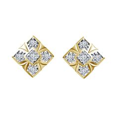 white CZ round cut Square Stud Earrings