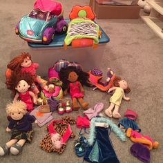 Groovy girls soft toy bundle Very good for small kids because there's no small parts that they can choke on, and everything is soft! Comes with 5 dolls, the car, bed, motorcycle, chair, couch, footrest and clothes. groovy girls  Other