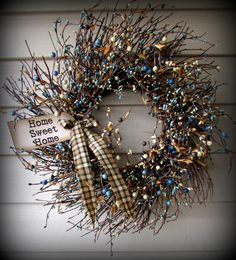 Blue and Cream Very Berry Pip Berry Wreath by UniqueDesignsFromSC