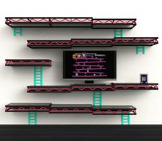 Give your entertainment room a touch of nostalgia with the Donkey Kong shelves. Designed for the old school gamer, the shelves provide ample space for all your movies and games while making your wall look like a level from the classic Donkey Kong game. Display Shelves, Wall Shelves, Book Shelves, Tv Shelf, Shelf Display, Hanging Shelves, Corner Shelves, Display Ideas, Geek Decor