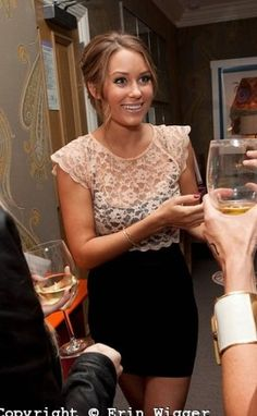 Lauren Conrad style tip, add a lacy crop top to a bandage dress to make it more interesting and look a little less revealing