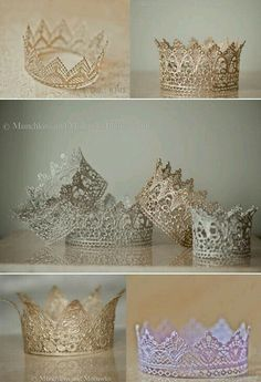 DIY: crowns - lace, paint, modge podge Cute craft for a little girl's birthday party Diy And Crafts, Craft Projects, Crafts For Kids, Projects To Try, Arts And Crafts, Craft Ideas, Lace Crowns, Princess Party, Diy Princess Costume
