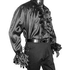 Rüschenhemd mit Kragen, Satin, schwarz, Größe S