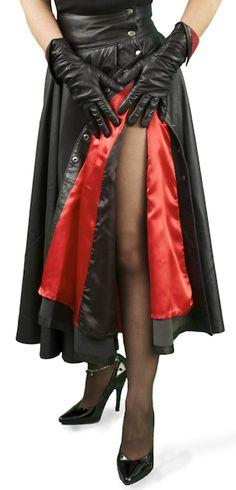 6d1dbc9f5ea4 Soft Black Lambskin Leather Retro Gothic Circular Full Skirt. Stunning! A  wrap-round. Tout Ensemble