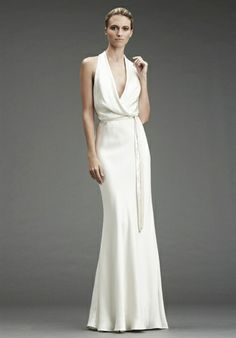 Nicole Miller FA0031  DRESS DETAILS  Silhouette: Sheath Neckline: V-Neck Gown Length: Floor Fabric: Silk Color: Ivory Size: 0 - 16 Price: $$