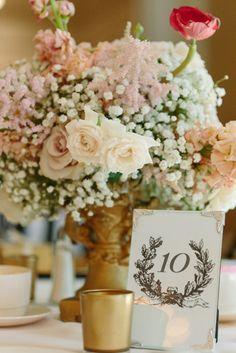metallic wedding table decoration in gold