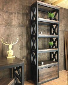 Купить Стеллаж BRISTOL. - коричневый, стеллаж, лофт, loft, loft стеллаж, loft мебель