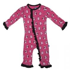 Print Ruffle Coverall in Winter Rose Penguin