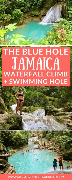 Why You Won't Want To Miss The Blue Hole: Jamaica's Hidden Gem · If you are planning a trip to Jamaica, be sure to put the Blue Hole on your travel itinerary! This swimming hole and waterfall are off-the-beaten-path and less tourist filled than Dunn's River Falls. A must for those who like waterfalls and adventure!