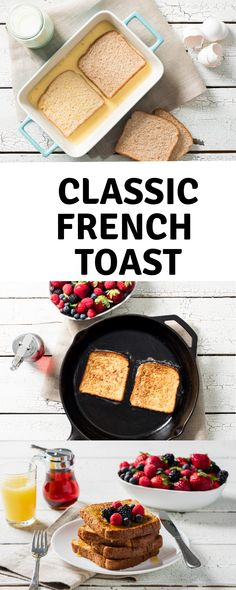 Classic French toast is a quick and delicious breakfast treat. Enjoy topped with maple syrup, jam, fresh berries or a dusting of icing sugar. Baby Food Recipes, Fall Recipes, Cooking Recipes, Egg Recipes, Brunch, Morning Food, Breakfast Recipes, French Toast, Food Time