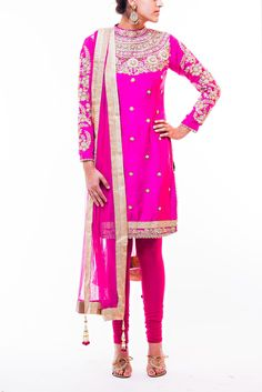Long magenta pink dupion silk kameez with matching stretchy pajami. High collar floral mbroidered bodice with pearl highlighting. Net dupatta