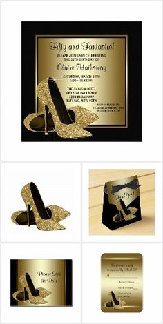 Womans Birthday Party Gold High Heels