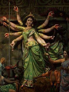 The Navratri festivals also known as Durga Puja have started in India. The festival is dedicated to Goddess Durga. Shiva Hindu, Shiva Shakti, Hindu Deities, Hindu Art, Krishna, Kali Goddess, Mother Goddess, Goddess Art, Durga Maa Paintings