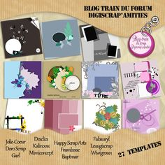 Scrapbooking Blog Train - March 2013, Digiscrap's Amities, Template Forum.  Lots of great digital scrapbooking template freebies!