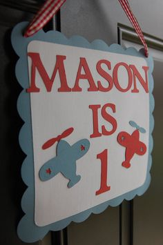 Airplane Door Sign, Airplane Welcome Sign, Airplane Birthday, Airplane Theme, Airplane 1st Birthday. $12.00, via Etsy.