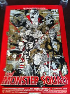 The Monster Squad by Tyler Stout. Presented at the January 2010 reunion screening @ Alamo Drafthouse in Austin. Horror Movie Posters, Best Movie Posters, Movie Poster Art, Horror Movies, Art Posters, Horror Art, Poster Drawing, Book Posters, Cult Movies