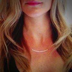 14k Gold Diamond Curved Bar Necklace 2 size by skinnyBLING on Etsy, $650.00
