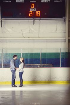"""hockey theme wedding announcement on the ice with wedding date in the """"time"""" YES!!!!"""