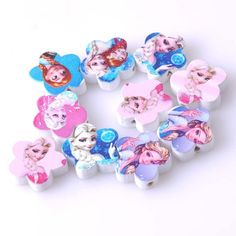 19mm 20pcs Mixed Snow Queen Paintied Flower Wooden Beads For kids Jewelry Making MT0116X