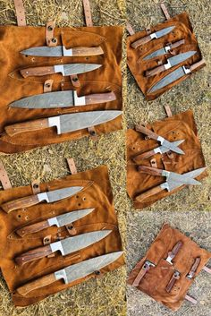 Chef and Hunting Sets Handmade Chef Knife, Handmade Knives, Chef Knife Set, Knife Sets, Chef Knives, Cow Hide, Damascus Steel, Knifes, Kitchen Knives